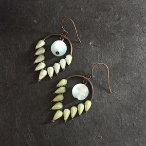 Dangle Moonstone and Pale Green Bronze Earrings